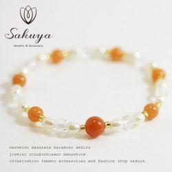 オレンジアベンチュリン パワーストーン(天然石/カラーストーン) ブレスレット stone-b-hime01